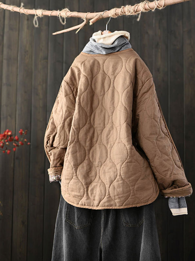 Mori Girl Round Neck Fall Winter Single-Breasted Loose Cotton Coat
