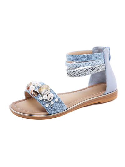 Summer Folk Style Daily Back Zip Rhinestone Beads Sandals