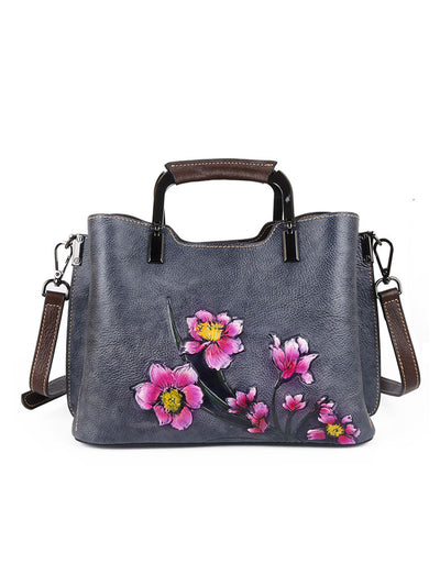 Ethnic Leather Plant Print Fashion Women Shoulder Bag