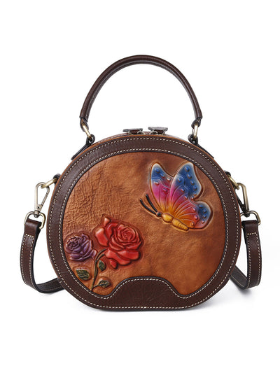 Vintage Plant Fashion Pansy Zipper Brush Off Leather Shoulder Bag