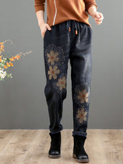 Fall Embroidery Denim Thick Loose Lace-Up Elastic Jeans