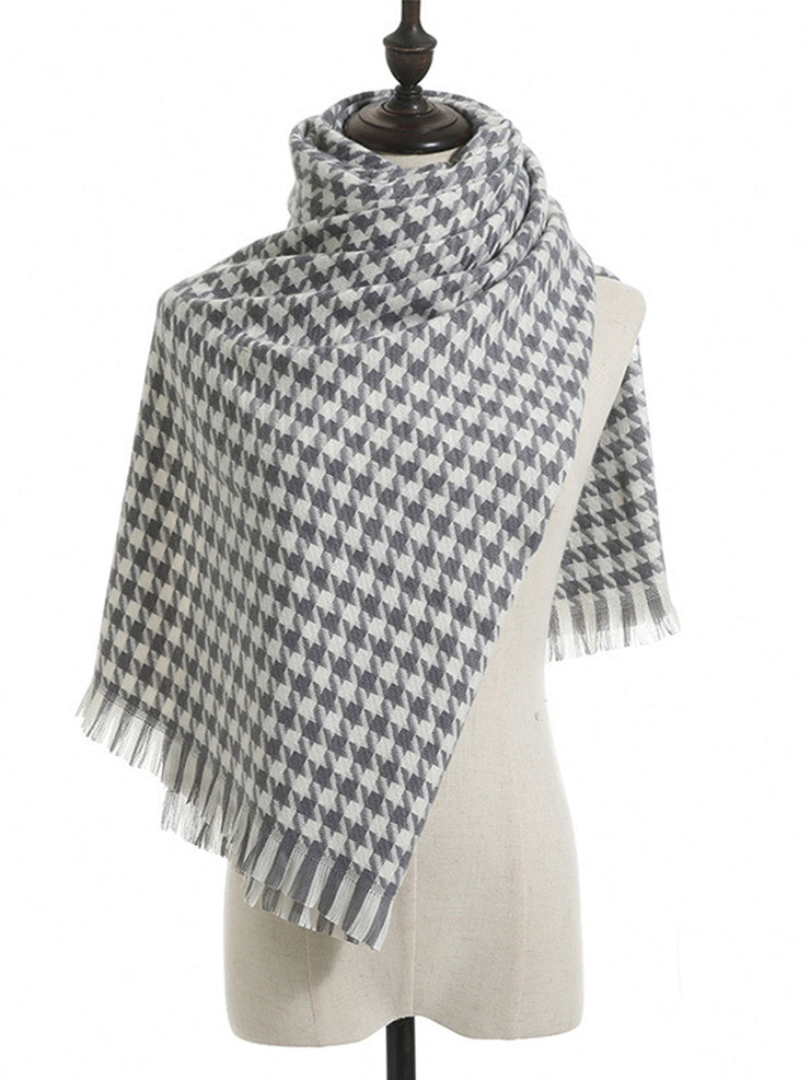 Tassel Houndstooth Korean Mid-Length Cashmere Scarf