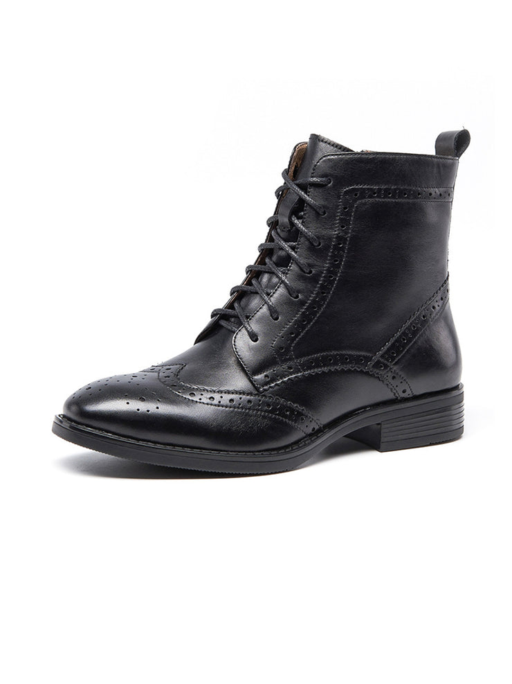 Solid Color Lace-Up Brock Carved Boots