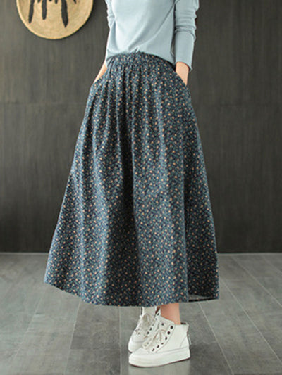 Spring Floral Plant Vintage Loose Summer A-Line Cotton Skirt