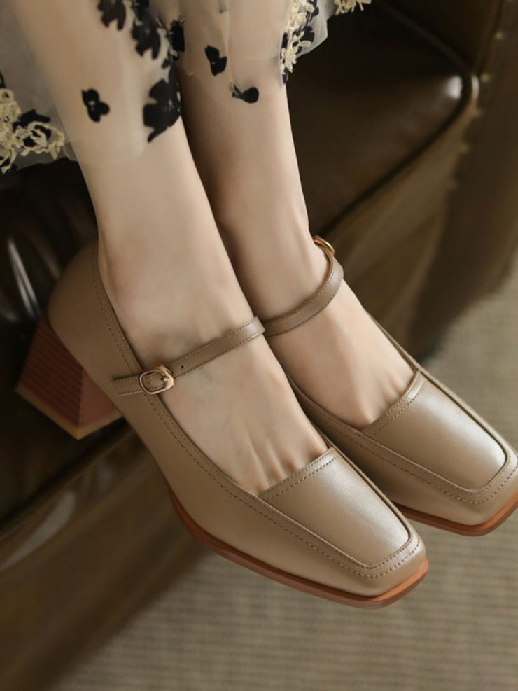 Belt Buckle Low Heel Square Toe Spring Leather Heels