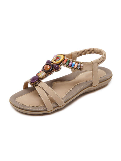 Summer Folk Style Casual Elastic Beads Flat Heel Sandals