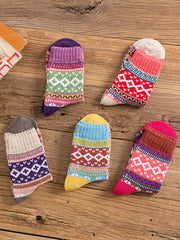 5 PCS/SET CHRISTMAS GIFT Winter Thick Flower Jacquard Casual Woolen Socks