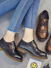 Spring Lace-Up Front Professional Low Heel Leather Brogues
