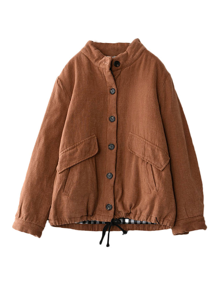 Pocket Lace-Up Winter Stand Collar Loose Vintage Short Cotton Coat