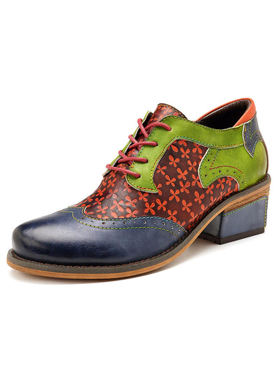 Folk Style Floral Color Block Lace-Up Chunky Heel Round Toe Brogues