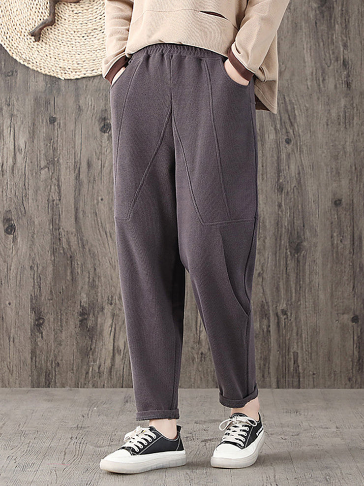 Spring Vintage Plain Harem Loose Cotton Pants