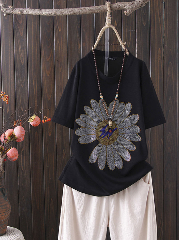 Korean Round Neck Flower Summer Loose Short Sleeve T-Shirt