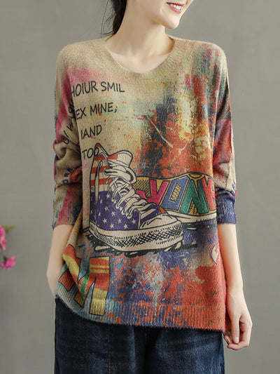 Fashion Fall Print Patchwork Thin Round Neck Cartoon Loose Sweater