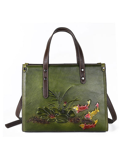 Vintage Tote Leather Plant Fashion Shoulder Bag