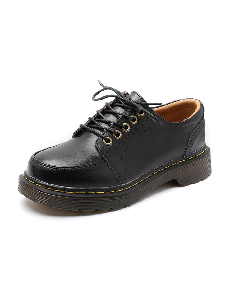 Platform Lace-Up Front Round Toe British Low Heel Brogues