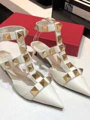 Summer Rivets Korean Stiletto Heel Banquet Pointed Toe Sandals