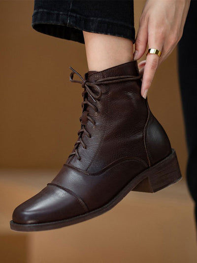 Vintage Leather Square Toe Ankle Motorcycle Boots