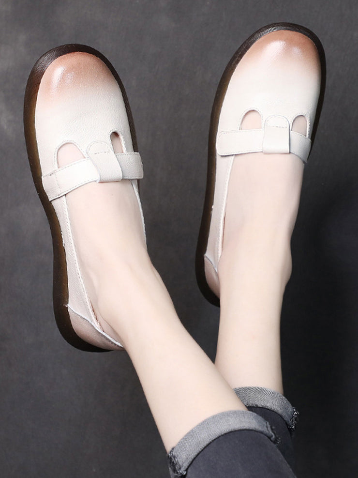 Summer Spring Low Heel Vintage Casual Round Toe Leather Flats