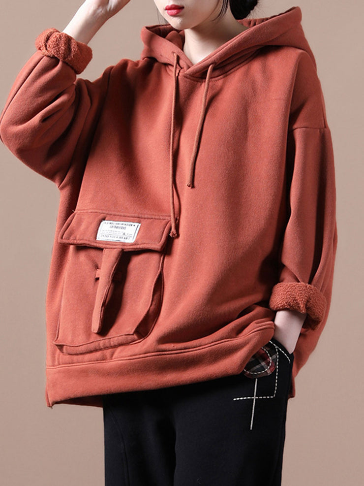 Hooded Cotton Loose Fleece Pocket Casual Pullover Hoodie