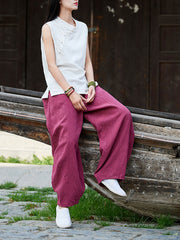 Spring Summer Vintage Ethnic Loose Linen Thin Knickerbockers Pants