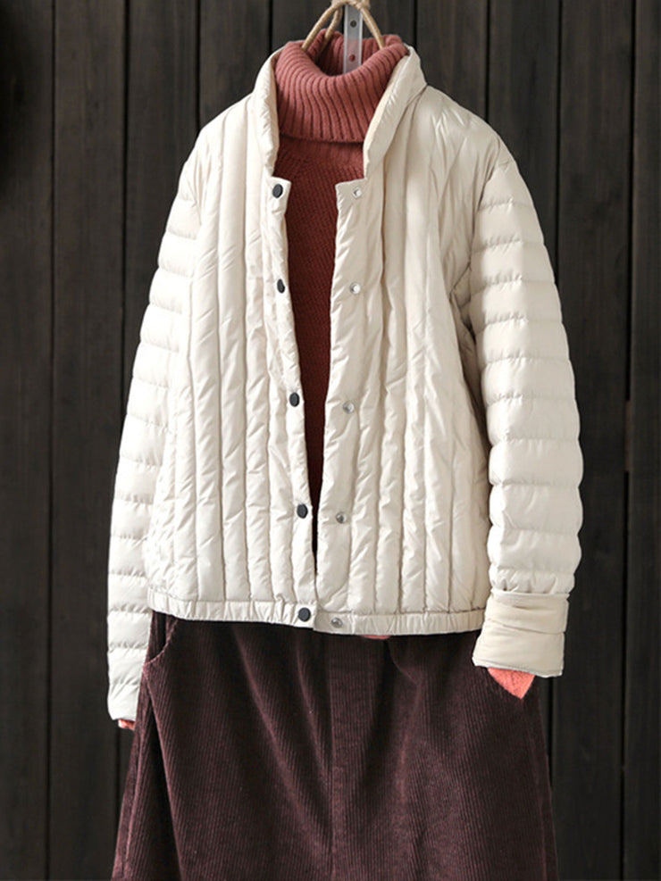 Winter Ethnic Stand Collar Button Thin Cotton Coat