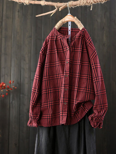 Stand Collar Loose Single-Breasted Vintage Plaid Cotton Blouse