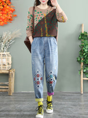 Embroidery Vintage Color Block Harem Fall Thick Jeans