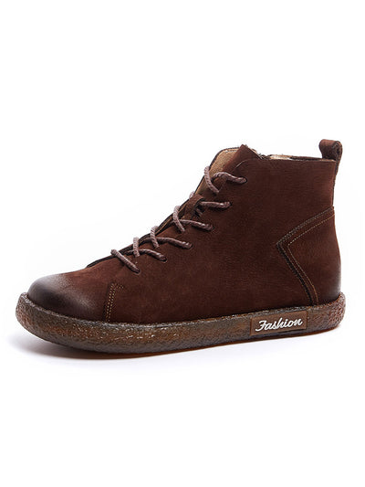 Cowhells Leather Flat Heel Round Toe Martens Boots