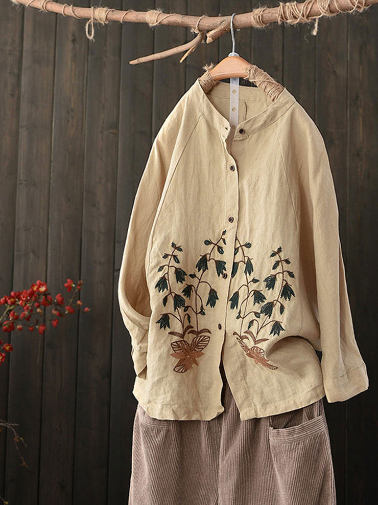 Vintage Embroidery Lapel Winter Fall Loose Blouse