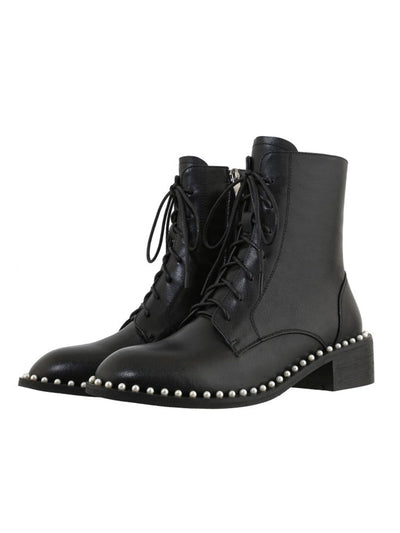 British Round Toe Ankle Pearl Leather Martens Boots