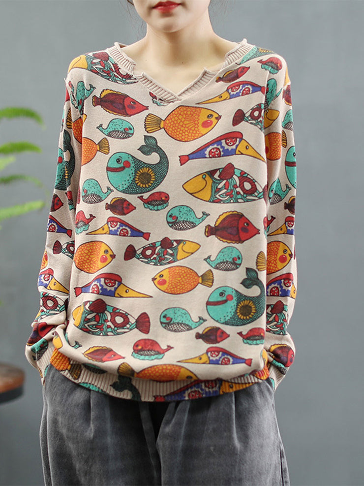 Fall Winter Vintage Print V-Neck Pullover Loose Cotton Sweater