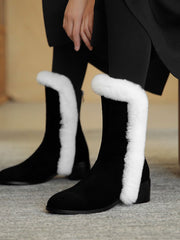 Back Zip Chunky Heel Euro-American Leather Snow Boots