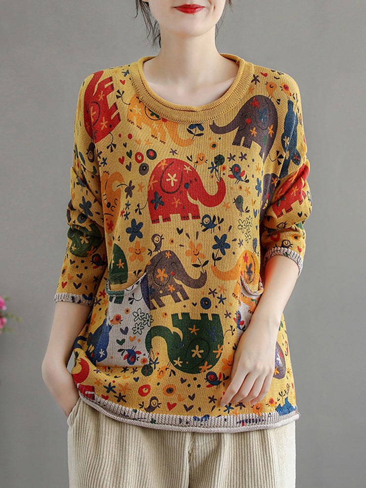 Casual Pullover Cartoon Print Long Sleeve Round Neck Loose Sweater