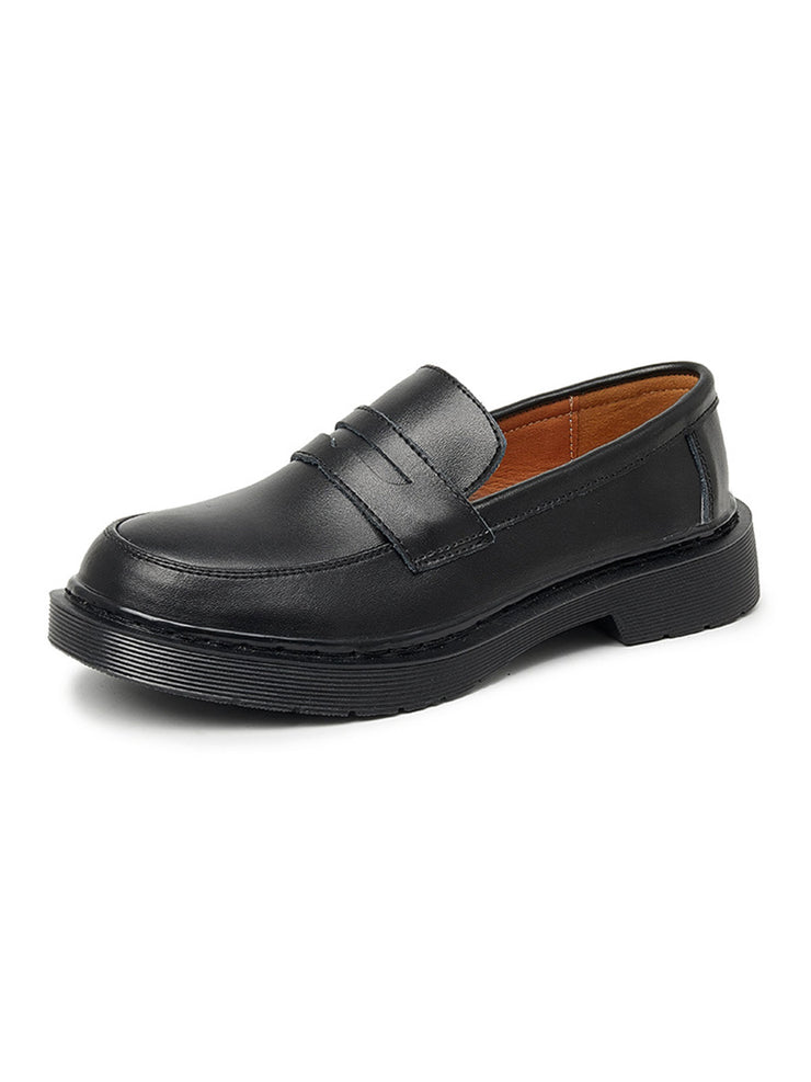 Spring Fall Low Heel Daily British Round Toe Leather Loafers