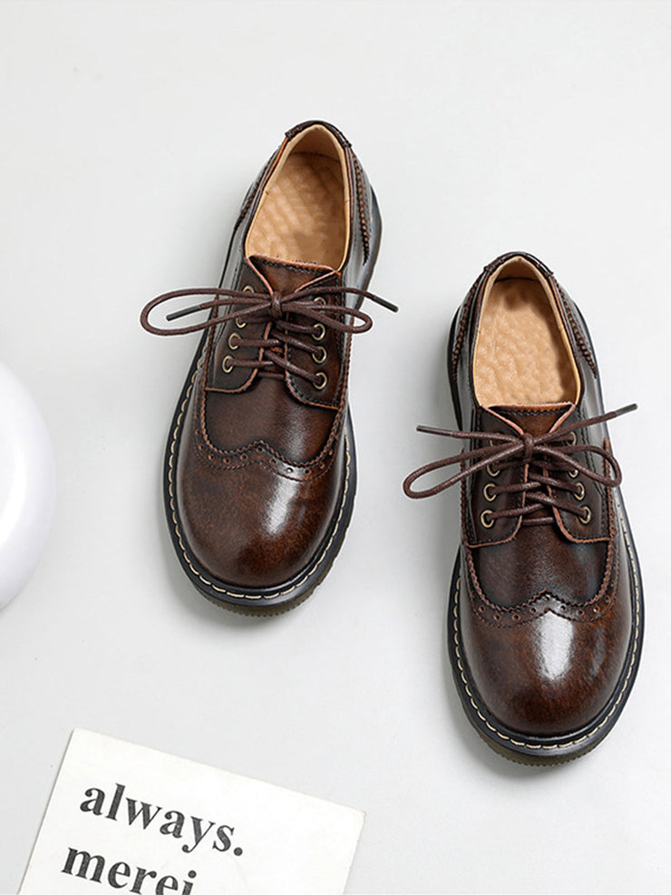 Japanese Lace-Up Front Round Toe Casual Low Heel Spring Brogues