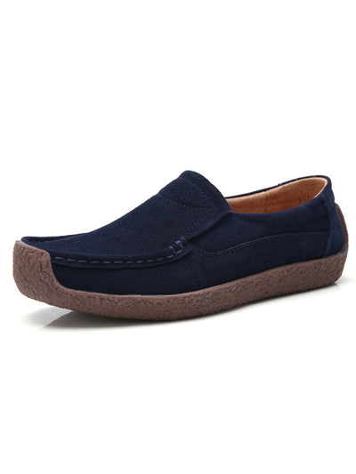 Slip-On Casual Spring Flat Heel Round Toe Leather Flats