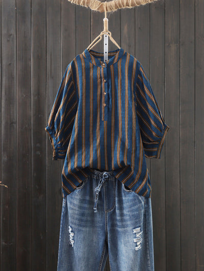 Round Neck Lantern Sleeve OL Stripe Summer Vintage Blouse