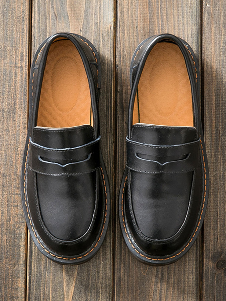 Round Toe Japanese Mori Girl Leather Chunky Heel Loafers