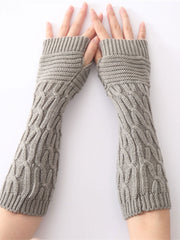 Jacquard Winter Plain European Work Knitted Gloves