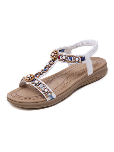Summer Folk Style Round Toe Plain Beads Elastic Sandals
