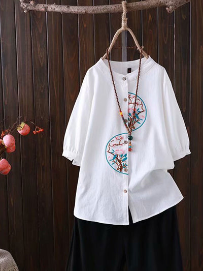 Embroidery Round Neck Ethnic Short Sleeve Loose Summer Blouse