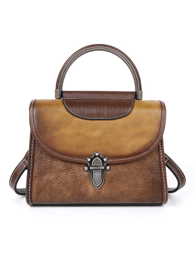 Brush Off Leather Vintage Zipper Buckle Shoulder Bag