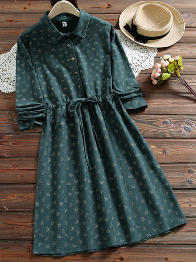 Polo Neck Print Sweet Lace-Up Spring A-Line Cotton Dress