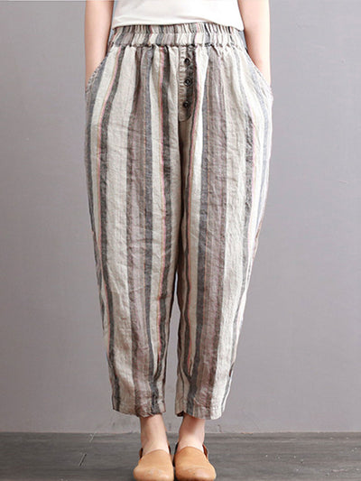 Casual Loose Harem Linen Stripe Spring Thin Pants