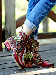 Jacquard Color Block Round Toe Leather Fashion Boots