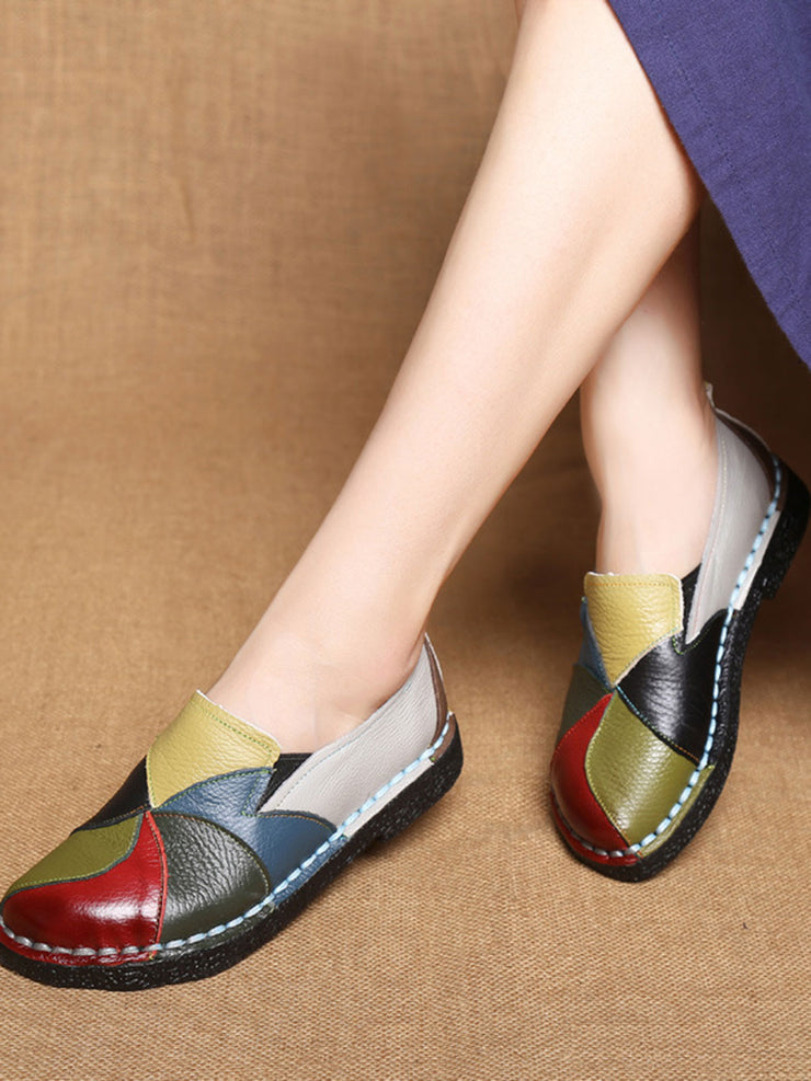 Folk Style Round Toe Color Block Flat Heel Leather Flats
