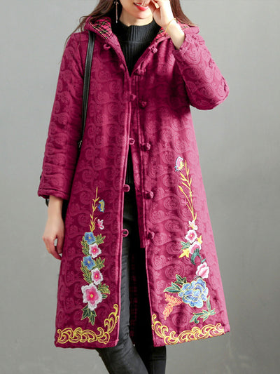 Hooded Ethnic Embroidery Buckle Mid-Length Fleece Cotton Overcoat