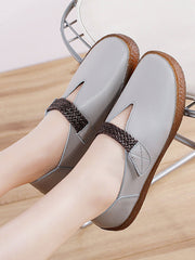 Round Toe Casual Low Heel Spring Fall Leather Flats