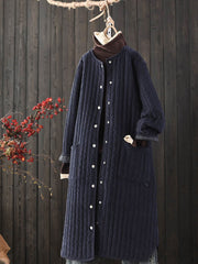Mid-Length Stripe Winter Round Neck Corduroy Loose Cotton Overcoat