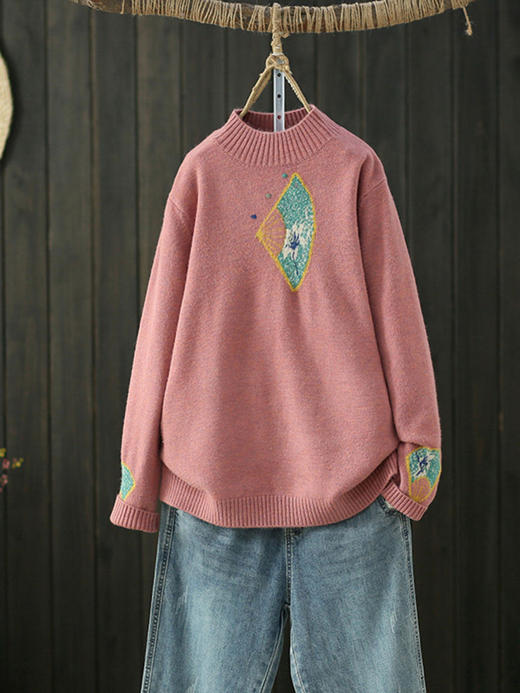Pullover Vintage Jacquard Cartoon Long Sleeve Winter Sweater
